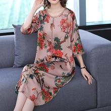 2019 Plus Size Silk Dress for Women High Quality Xxl Xxxl 4xl 5xl Flowing Print Elegant Vintage Loose Party midi dresses Clothes