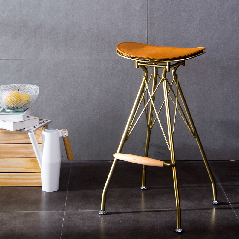 73cm Minimalist Golden Wrought Iron Bar Stool For Tea Coffee Shop Home High Stool Bar Stools Modern  Bar Chair