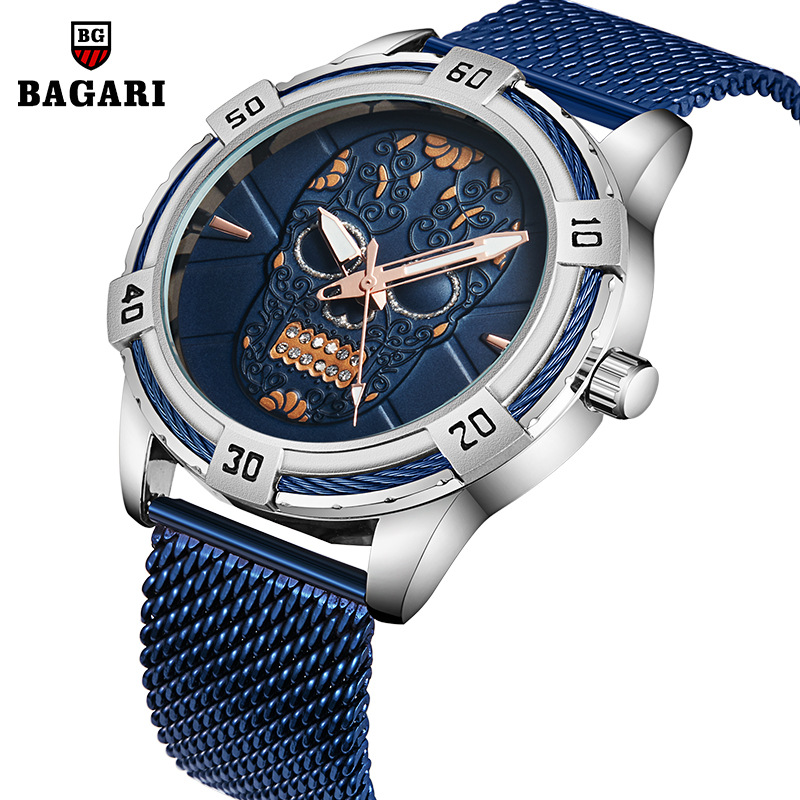 BAGARI Men's Watch Skull Watches 30M Waterproof Wrist Watches Night Luminous Quartz Watches Casual Japanese Movement