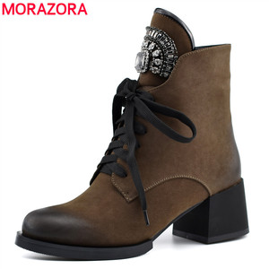 Image 1 - MORAZORA HOT sale ankle boots for women zipper +lace up autumn winter  boots crystal fashion high heels shoes woman