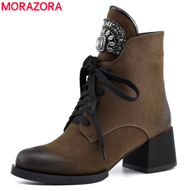 MORAZORA HOT sale ankle boots for women zipper +lace up autumn winter  boots crystal fashion high heels shoes woman