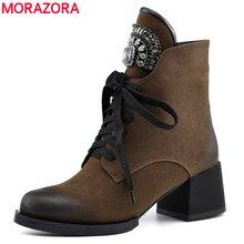 Morazoraホット販売女性のためのジッパー + レース秋冬ブーツクリスタルファッションハイヒールの靴の女性
