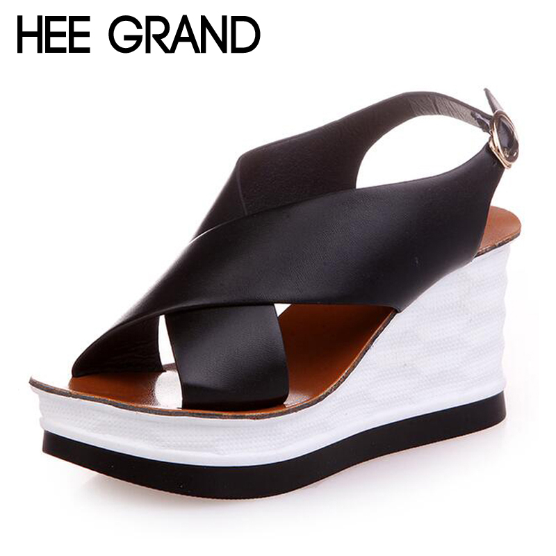 HEE GRAND Women Sandals Wedges Heel Summer Shoes Woman Comfortable Casual Sandals XWZ4056 phyanic 2017 gladiator sandals gold silver shoes woman summer platform wedges glitters creepers casual women shoes phy3323