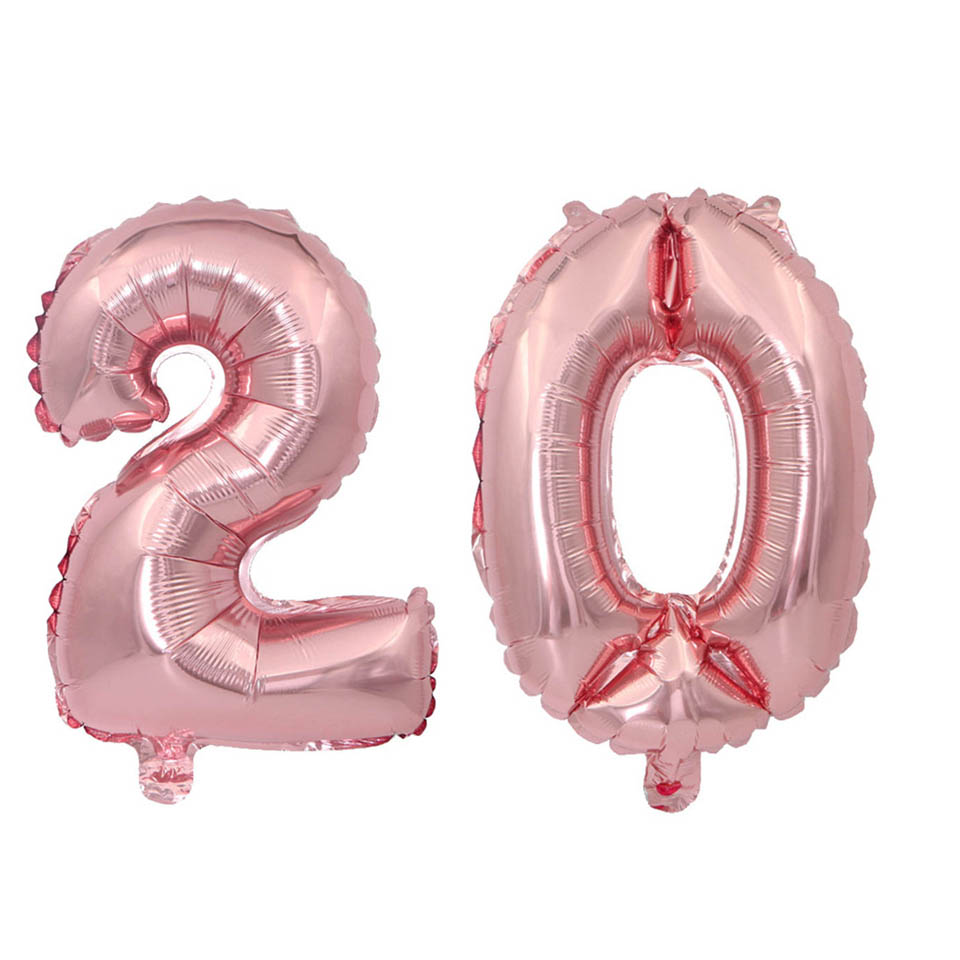 Tronzo Number Balloons Wedding Anniversary Decorations Foil Rose ...