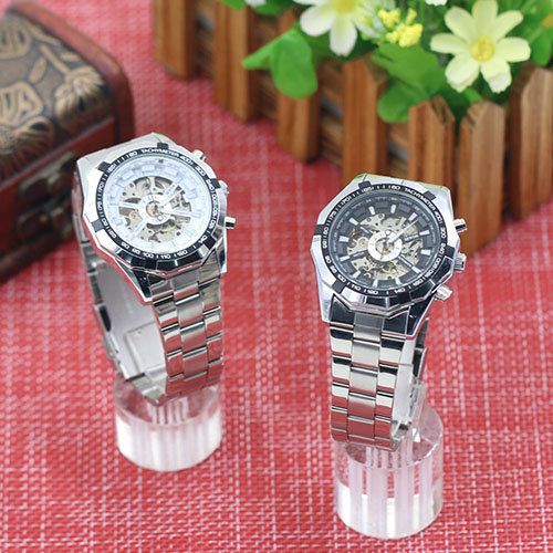 Fashion New 2015 Mens Watches Stainless Mechanical Watch Steel Hand-Winding Skeleton Automatic and Sport Wrist Watch  5LI8 6T3M wholesale wilon mens stainless steel mechanical skeleton watch