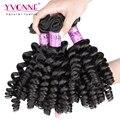 3 pacotes de cabelo virgem encaracolado não transformados, apertado onda fumi humano weave do cabelo, aliexpress yvonne cabelo, cor natural 1b