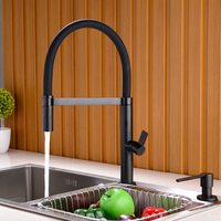 Black Chrome Solid Brass Spring Kitchen Faucet Sink Mixer Tap Swivel Spout Mixer Tap Hot