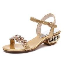 Женские модные сандалии; летние туфли со стразами на квадратном каблуке; женские римские сандалии; женские сандалии с открытым носком и ремешком сзади; SH031406