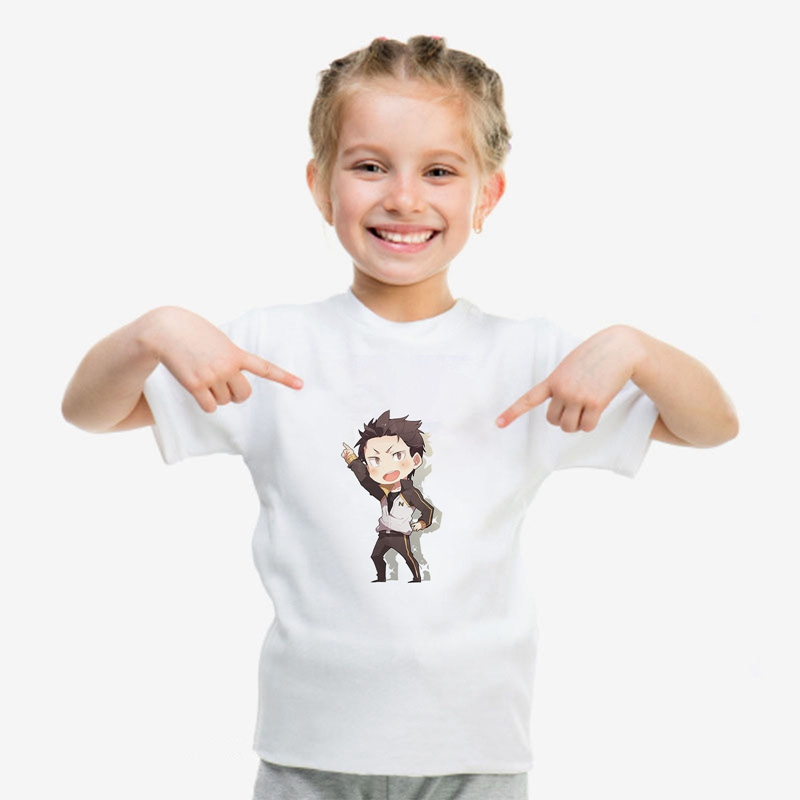 2019 NEW Modal T Kids RE ZERO Cat Cartoon Cute Print Comfort Round Neck Short Sleeve Top White T Shirt A193121 in Matching Family Outfits from Mother Kids