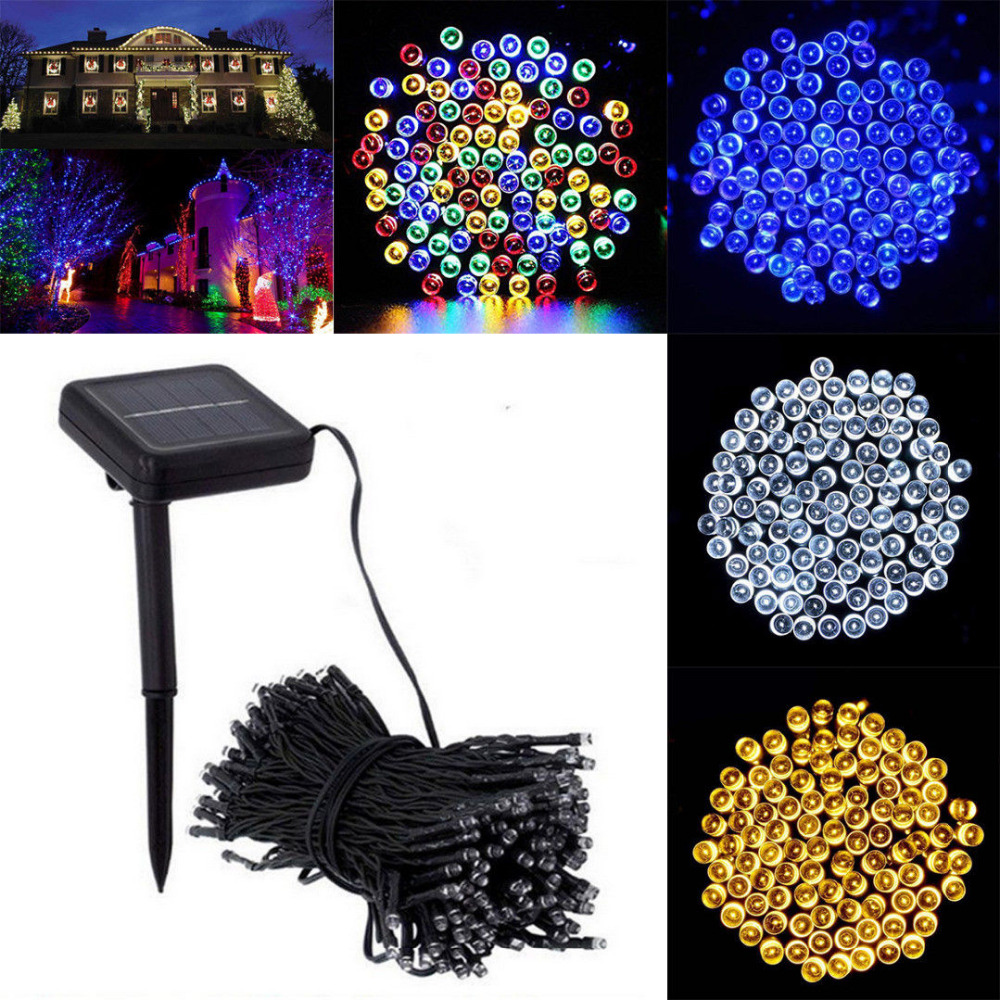 New 12M 100 LED Solar Panel Powered Fairy Light String Lamp Party Xmas Tree Decor Garden Wedding Party Decoration String Lamp CA