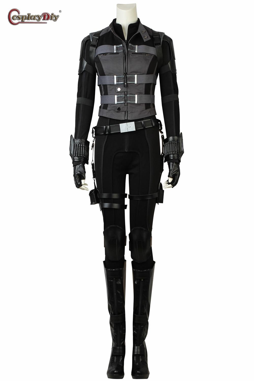 Cosplaydiy Avengers Civil War Black Widow Natasha Romanoff Costume Avengers Adult Women Cosplay Halloween Black Suit Outfit