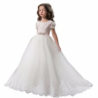 ZYLLGF Bridal Fluffy Cheap Flower Girl Dress Kids Pageant Dresses Long Pageant Dresses For Children With Sash FP19