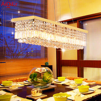 Restaurant chandelier creative minimalist rectangular crystal lamps dining room lighting bar Bedroom lamp Hall Restaurant lights