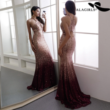 Alagirls New Arrived Sequins Prom Dress Floor Length Mermaid Evening Sexy Halter Party Vestido de fiesta 2019
