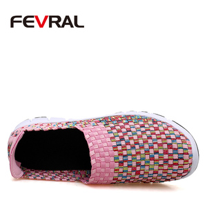 Image 2 - FEVRAL Brand Woman Woven Shoes Spring Flats Handmade Breathable Shallow Mouth Lazy Loafers Slip Resistant Soft Casual Shoes
