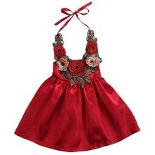 Da criança Do Bebê Dos Miúdos Meninas Flor Vestidos Moda Halter Neck Backless Pageant Vestido de Festa Roupas de Verão Vestidos 6M-5Y