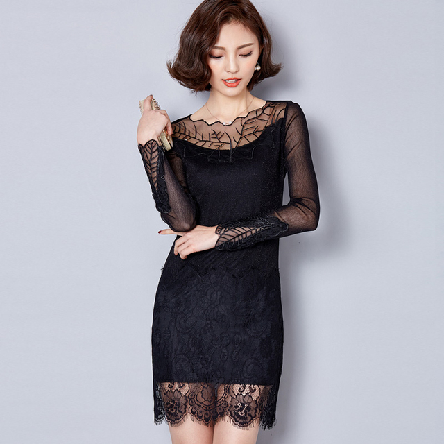 Embroidery Mesh Dresses 2017 Spring Summer New Women Black Lace