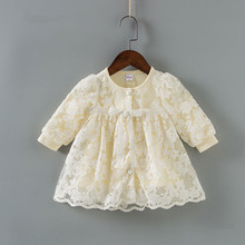 girls wedding dress Toddler Infant Baby Girls Lace Lantern Sleeve Princess Formal Christening Dress Outfits baby clothes 0 2Y