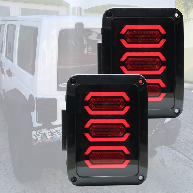 Smoke Lens Red LED Tail Light Assembly w/ Turn Signal & Back Up For Jeep Wrangler JK JKU 2007 - 2017 auxmart 22 led light bar 3 row 324w for jeep wrangler jk unlimited jku 07 17 straight 5d 400w led light bar mount brackets