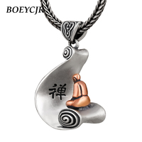 BOEYCJR 925 Sterling Silver Meditation Necklace Chain Jewelry Energy Monk Enlightenment Pendant Necklace for Men or Women