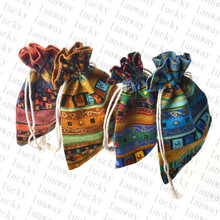 10x14 cm 20 Pcs/Lot Bohemia Style Drawstring Cotton Recycable Jewelry Gift Packing Pouches & Bags Candy Bag