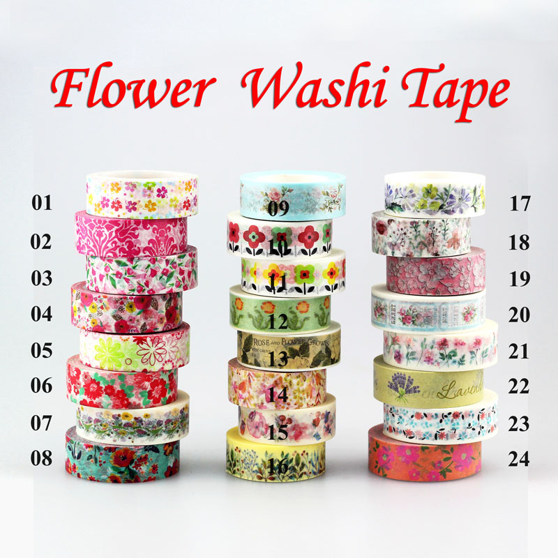 1Pc Flowers set 10m scrapbooking Japanese washi tape adhesive tape,Masking Tape decoration,DIY Sticky Paper Tape Photo Album 586 patterns hot 30pcs lot tape flowers chevrons print deco diy adhesive masking tape japanese washi tape paper 10m wholesale