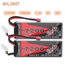 2UNITS GOLDBAT 7200mAh LiPo Battery for RC 2S 50C Battery LiPo 7.4V with T Plug for RC Car Truck Tank Losi Traxxas Slash Truggy