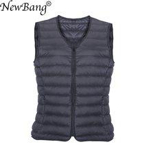 NewBang Brand Men Down Vest Ultra Light Down Vest Portable V-neck Sleeveless Coat Man Winter Without Collar Warm Liner