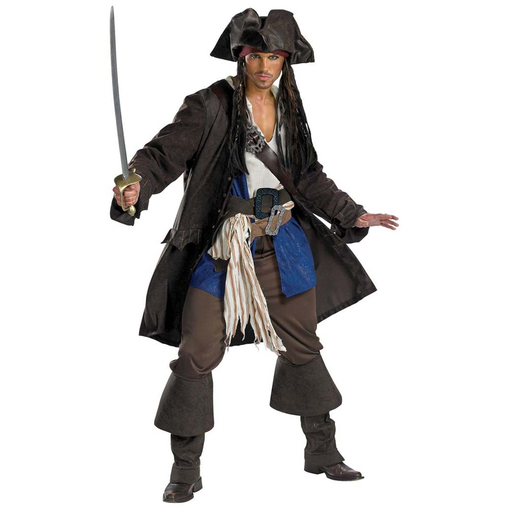 Adult Captain Jack Sparrow Costume Pirates of the Caribbean Fancy Dress Men's Classic Pirate Cosplay Costumes Full Set One Size kids halloween costumes cosplay caribbean pirates costumes captain jack children role playing children party clothes