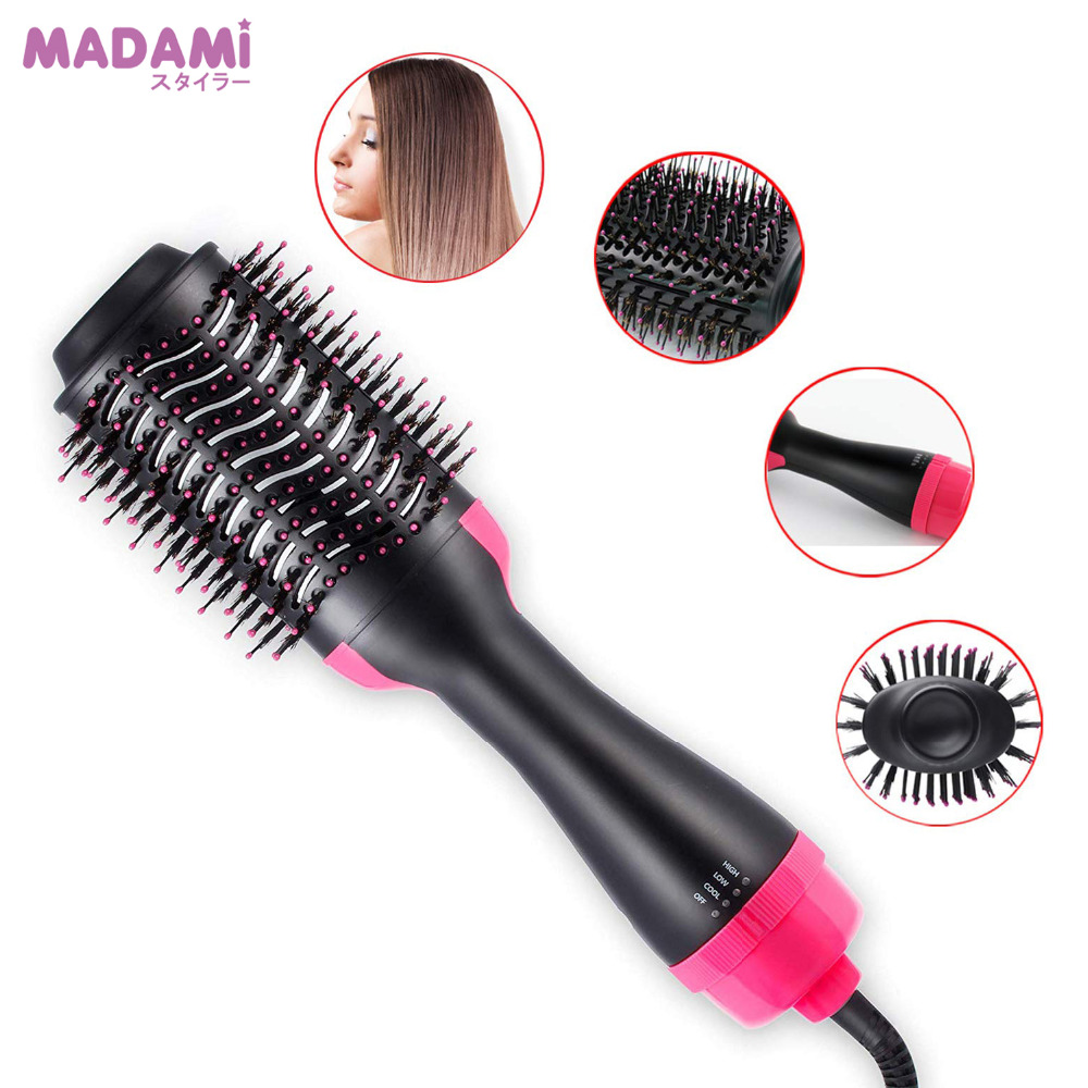 Madami Anti Scald One Step Hair Straightener Dryer Ceramic Electric Blow Dryer Hot Air Brush Anions