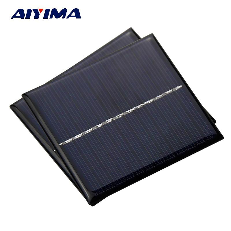 Aiyima 2pcs 1W 6V Solar Panels Polycrystalline Epoxy Solar Cells Education Experiment DIY Sunpower Battery Charger Painels Solar