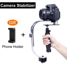 цена на Mini Handheld Camera Stabilizer Alloy Aluminum Video Steadicam Black Holder + Phone Clip for Canon Nikon Sony Sport Camera DSLR