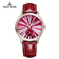 Reef Tiger/RT Роскошные модные часы для женщин Красная роза Золотые часы пояса из натуральной кожи ремешок автоматические часы reloj mujer RGA1561