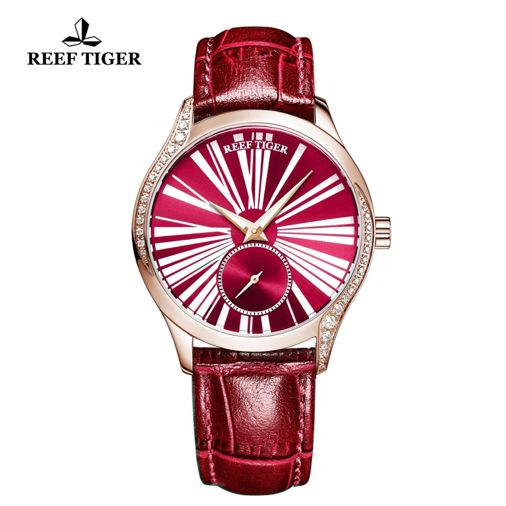 Reef Tiger/RT Luxury Fashion Watches Women Red Rose Gold Watch Genuine Leather Strap Automatic Watches reloj mujer RGA1561Reef Tiger/RT Luxury Fashion Watches Women Red Rose Gold Watch Genuine Leather Strap Automatic Watches reloj mujer RGA1561