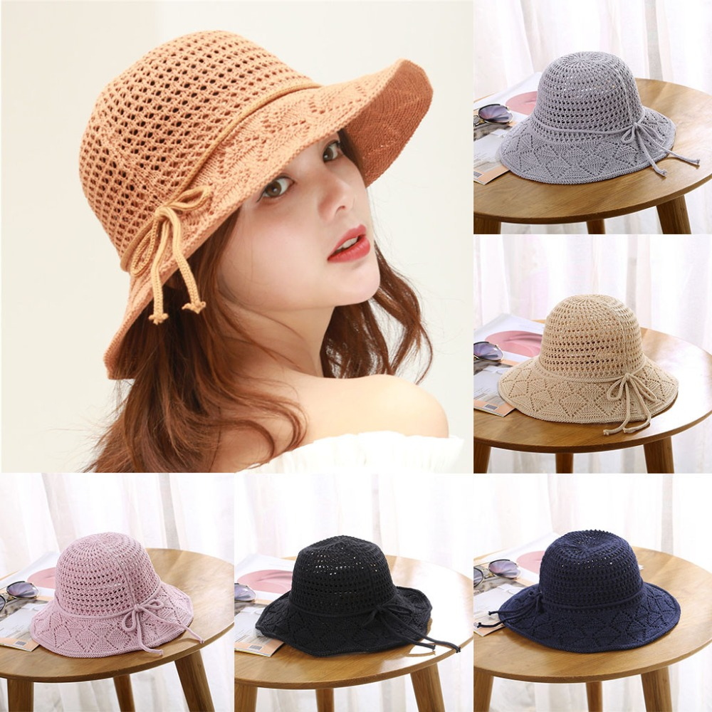 Ladies Women Casual Solid Wide Brimmed Floppy Foldable Beach Hat Summer Women For 2019