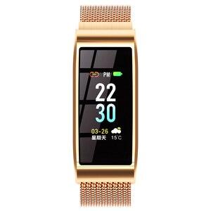 Image 2 - Intelligente wristband Del Braccialetto Impermeabile Misuratore di Pressione Sanguigna Bluetooth Oro Argento del Metallo della vigilanza Inseguitore di Fitness per le donne fidanzata