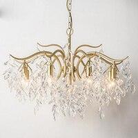 American chandelier living room dining room lamp French postmodern creative art leaves European style bedroom crystal lighting