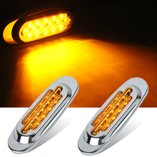 1 Pair 16 LEDs Car Side Marker Lights Clearance Lamp for 12V 24V Automobiles Truck Trailer Red Yellow White