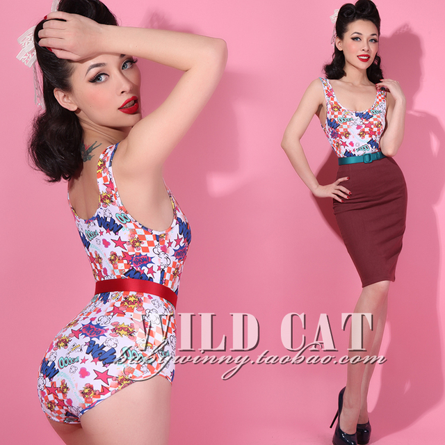 FREE SHIPPING Vintage pin up all-match cartoons pattern jumpsuit