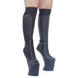 Image 5 - Heelless buty na platformie kobiety kolana wysoki seksowny buty ekstremalne wysokie 8 calowy obcas fetysz koń Ponying ogier kopyt podeszwa buty