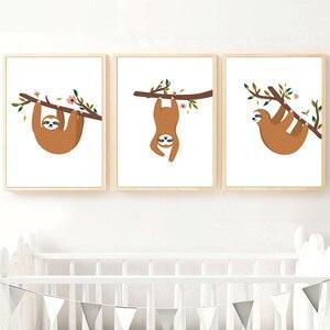 Image 2 - Desenhos animados sloth ramo flor arte da parede pintura da lona nordic cartazes e cópias do berçário fotos de parede para crianças decoração do quarto bebê