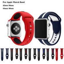 Sports Silicone Double Color Bracelet Strap For apple watch band 44/40/42/38mm men/women watches for iwatch Series 4 3 2 1