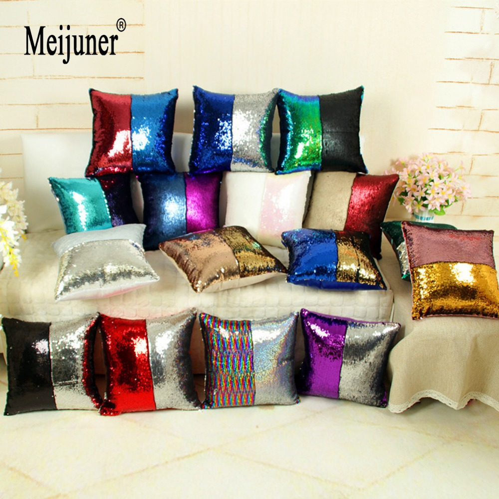 Meijuner Reversible Glitter Mermaid DIY Sequins Cushion Cover Throw Pillow Cushion Cover Car Home Sofa Decoration Pillowcase sloth square cushion cover throw pillow case