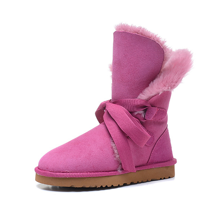 RUIYEE ladies leather snow boots fashion straps sheepskin boots fur overall boots non-slip wear-resistant 2018 new ruiyee ladies snow boots sheepskin wool integrated boots furry tie bow waterproof boots fashion warm non slip wear