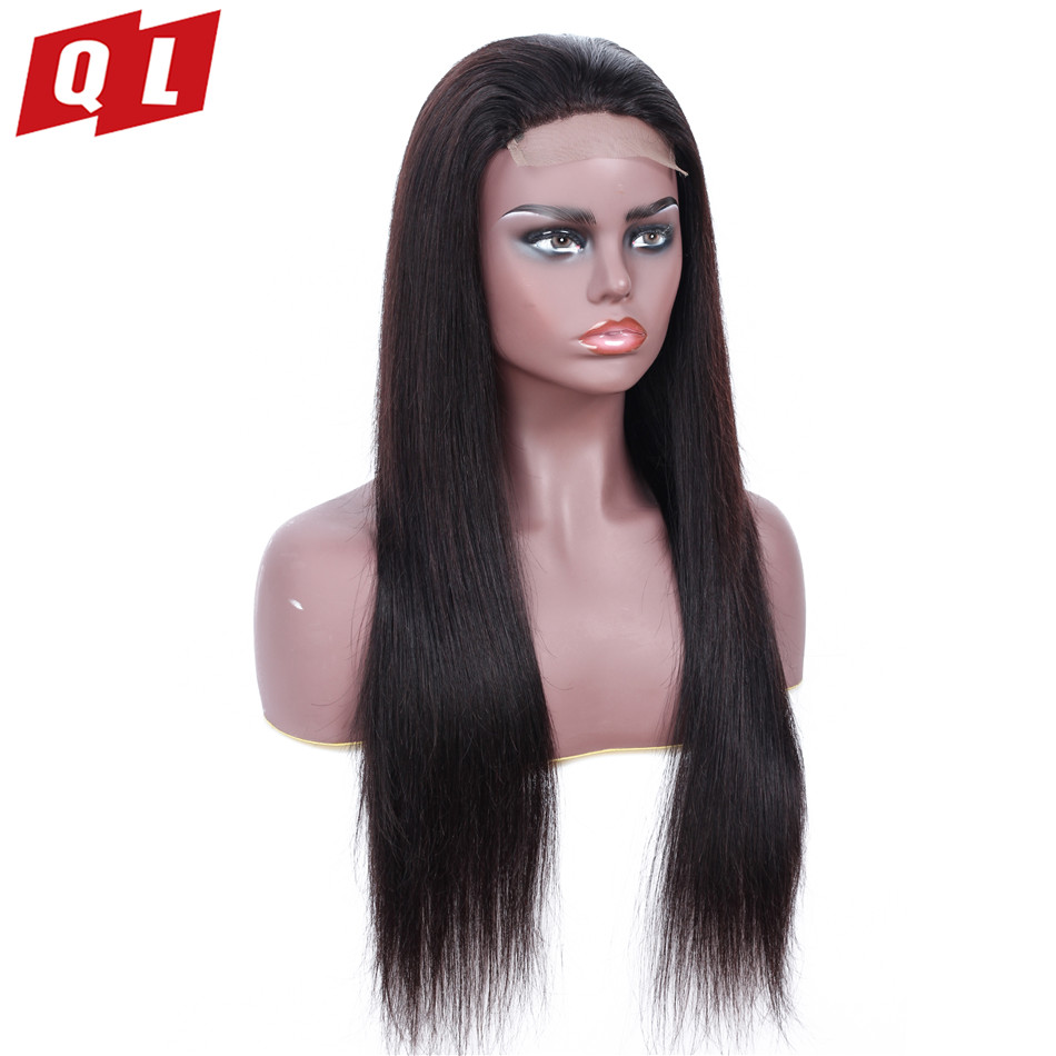 QLOVE 4 4 Lace Front Human Hair Wigs Natural Color Straight Hair Wigs Non Remy Lace