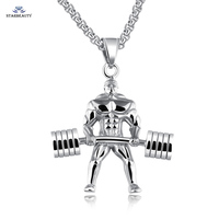Strong Muscle Weightlifting Necklace Long Necklace Men Barbell Necklaces Pendants Fit Neckless Jewelry Cool Exercise Accessory