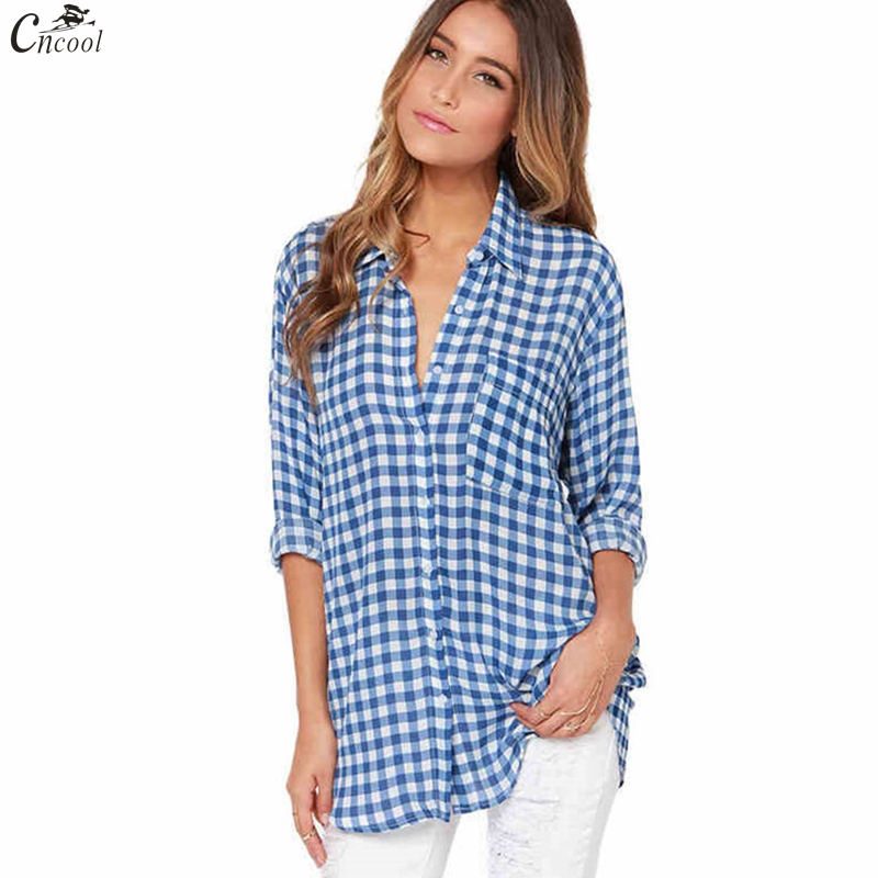 2018 Hot Sale Spring Ladies Female Casual Cotton Lapel Long-Sleeve Plaid Shirt Women Slim Outerwear Blouse Tops Clothing ...