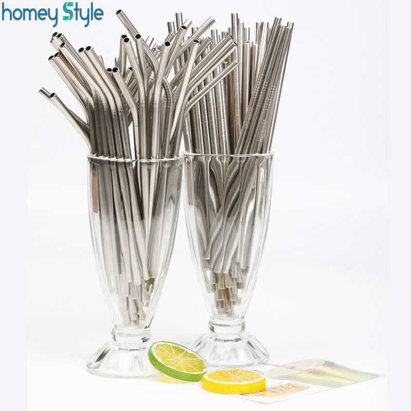 Reusable Stainless Steel 200Pcs lot Metal Straws Wholesale E co Friendly Drinking Straws 6MM 215MM Silver