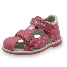 Летние сандалии для девочек ортопедическая детская обувь для малышей обувь из искусственной кожи на плоской подошве для маленьких девочек с супинатором европейские размеры 20-27