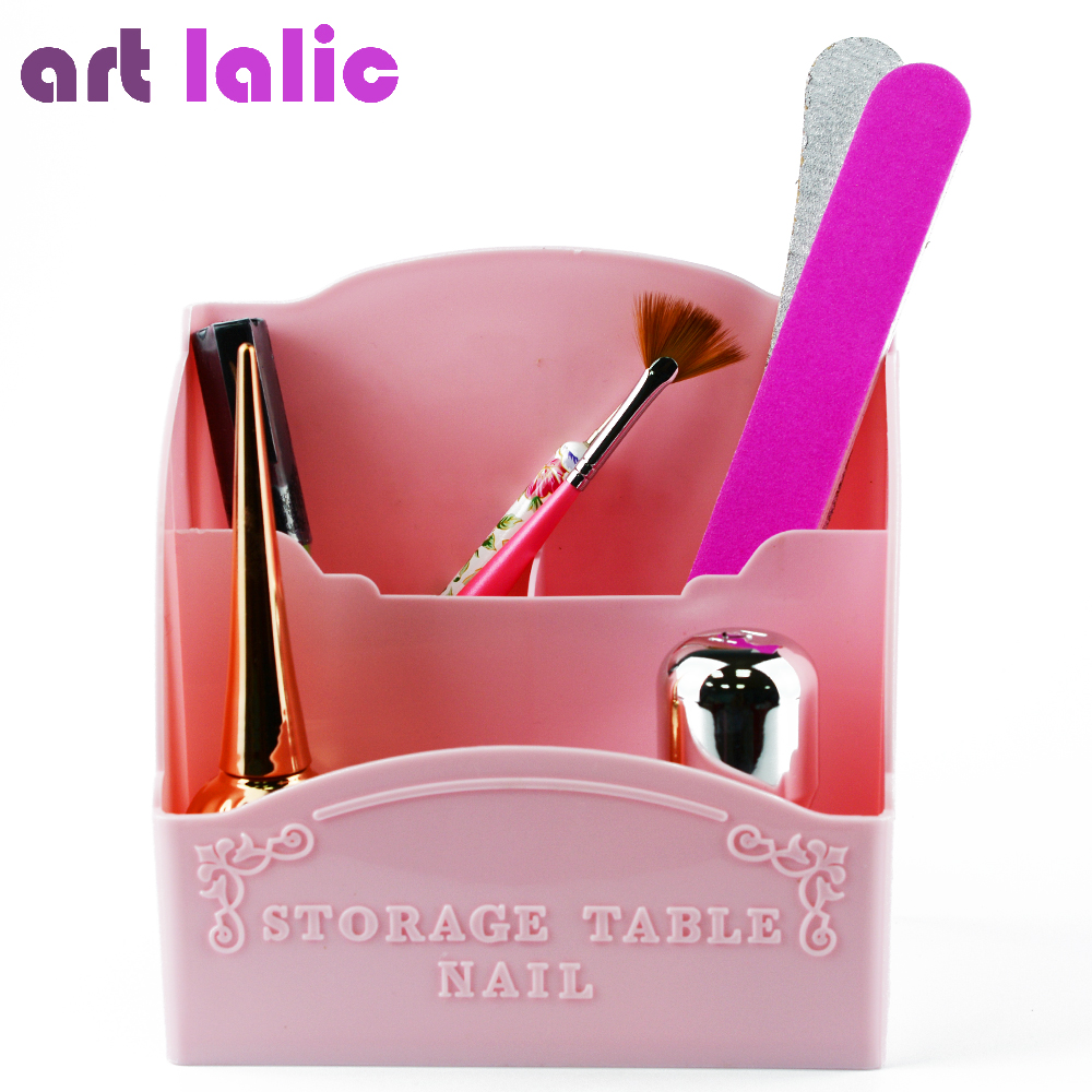 Artlalic 1Pcs Nail Art Three Rooms Storage Box Tools Container Case Organizer Makeup Brushes Pen Cabinet Pink Eiffel Tower(China)